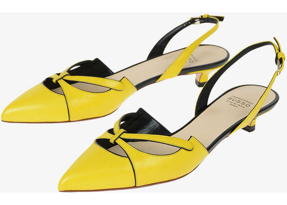 Francesco Russo Kitten Heel Leather Slingbacks 2 cm YELLOW