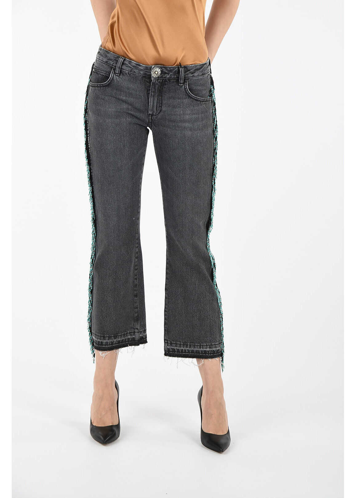 ALANUI Tapered Jeans with Beaded Embroideries 22 cm GRAY