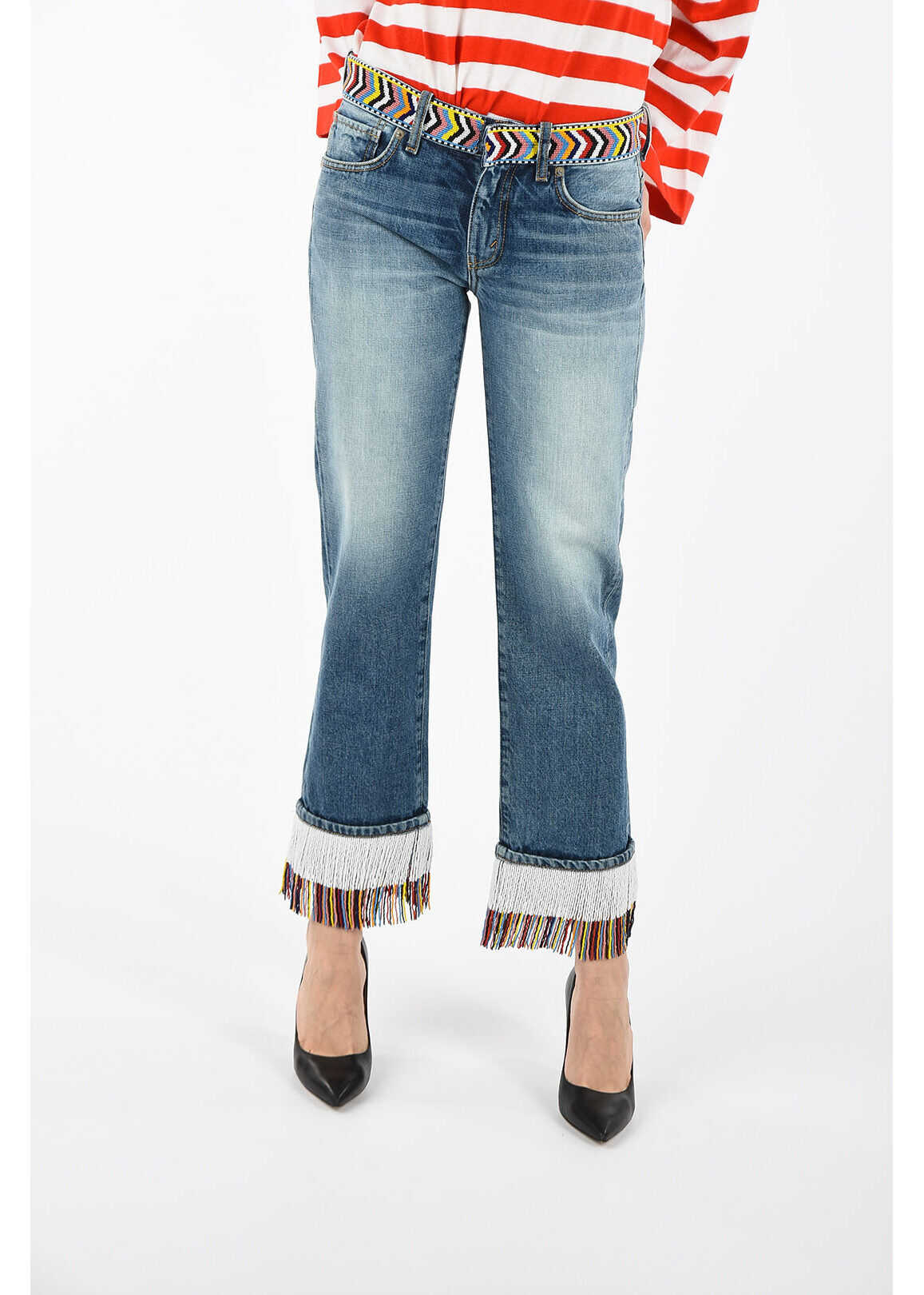 ALANUI Tapered Jeans with Beaded Embroideries 20 cm BLUE