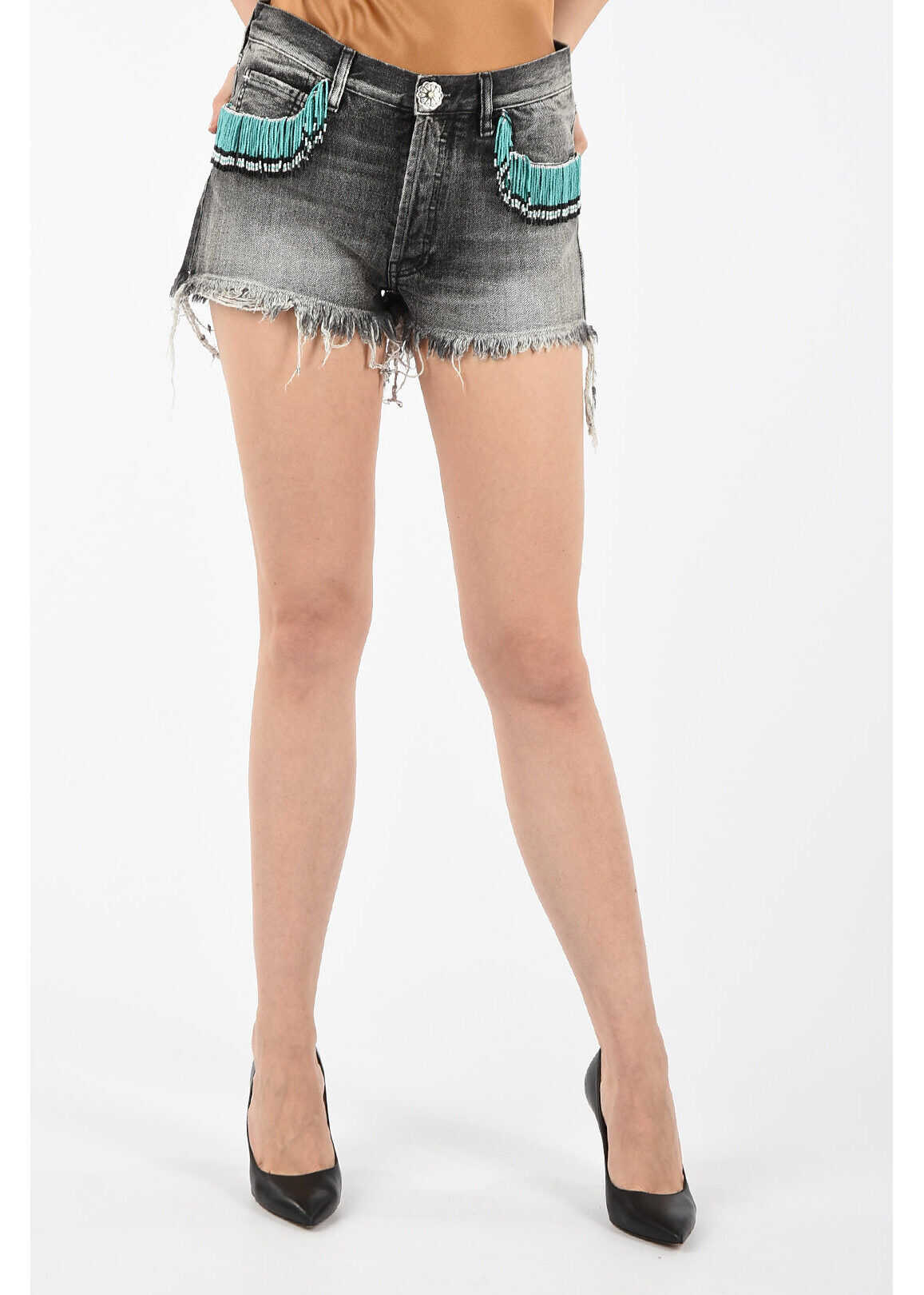ALANUI Denim Shorts with Beaded Embroideries GRAY