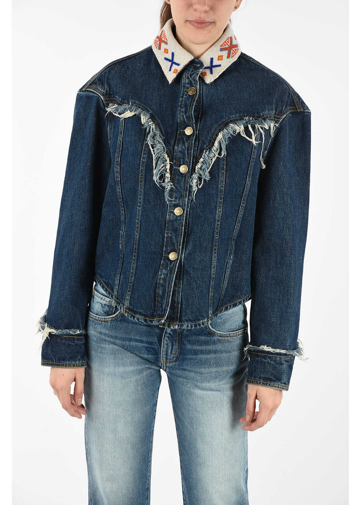 ALANUI Frayed Denim Jacket BLUE