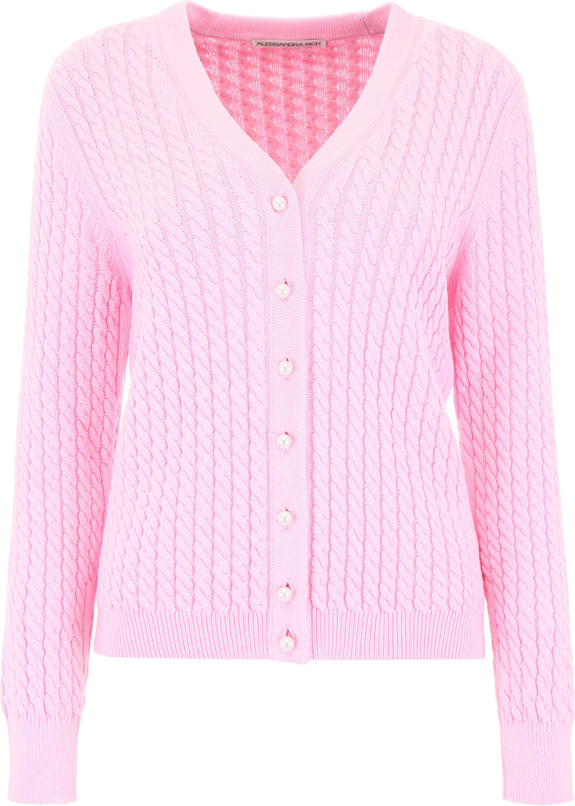 Alessandra Rich Cable Knit Cardigan PINK