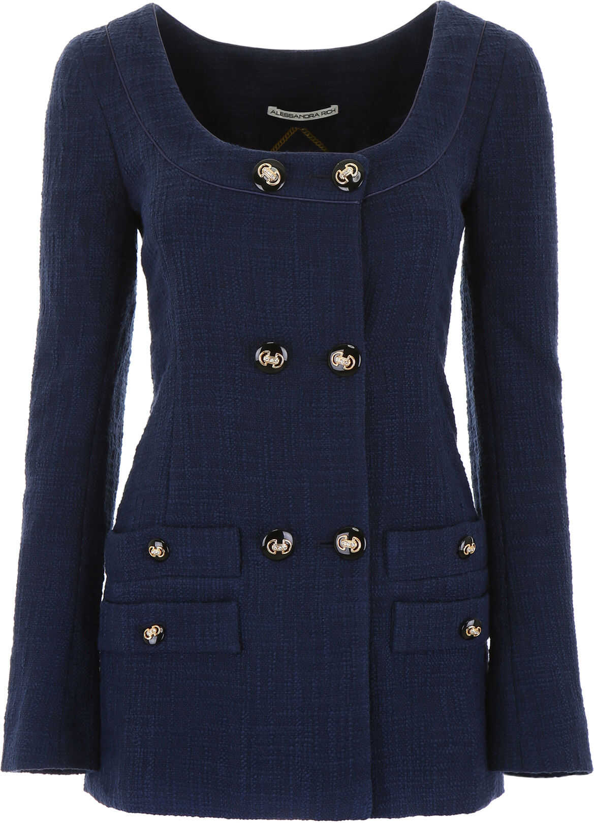 Alessandra Rich Long Tweed Jacket BLUE