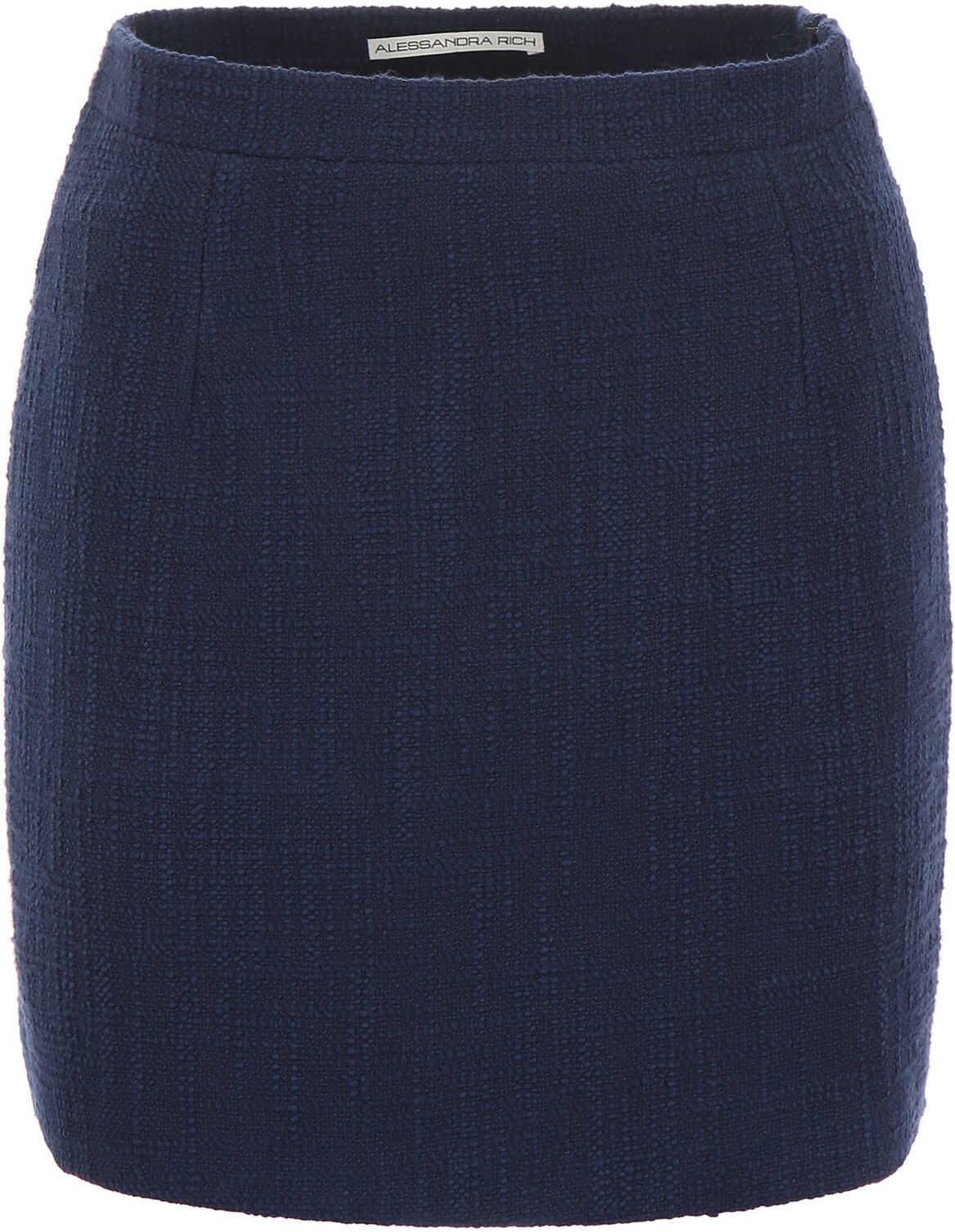 Alessandra Rich Tweed Skirt BLUE