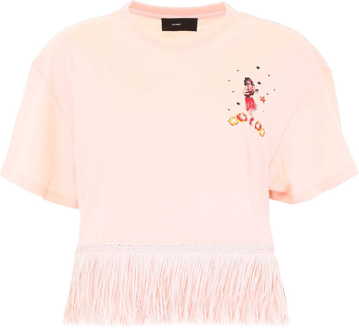 ALANUI Fringed Hawaiian T-Shirt PINK MULTI