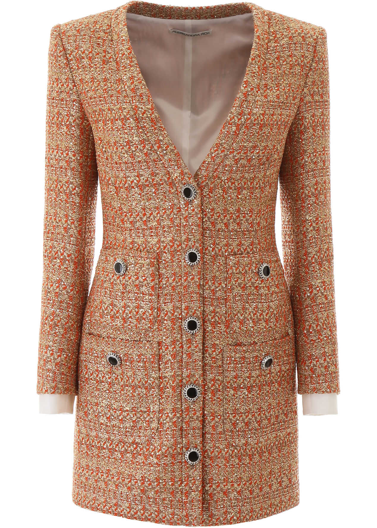 Alessandra Rich Tweed Mini Dress With Sequins CORAL GOLD
