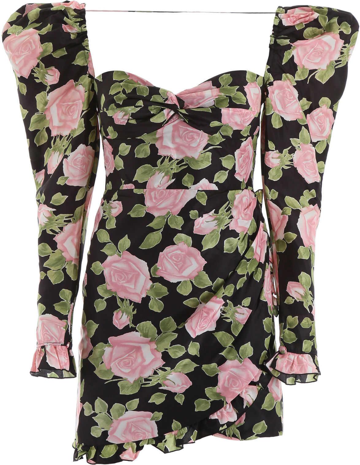 Alessandra Rich Rose Print Mini Dress BLACK PINK