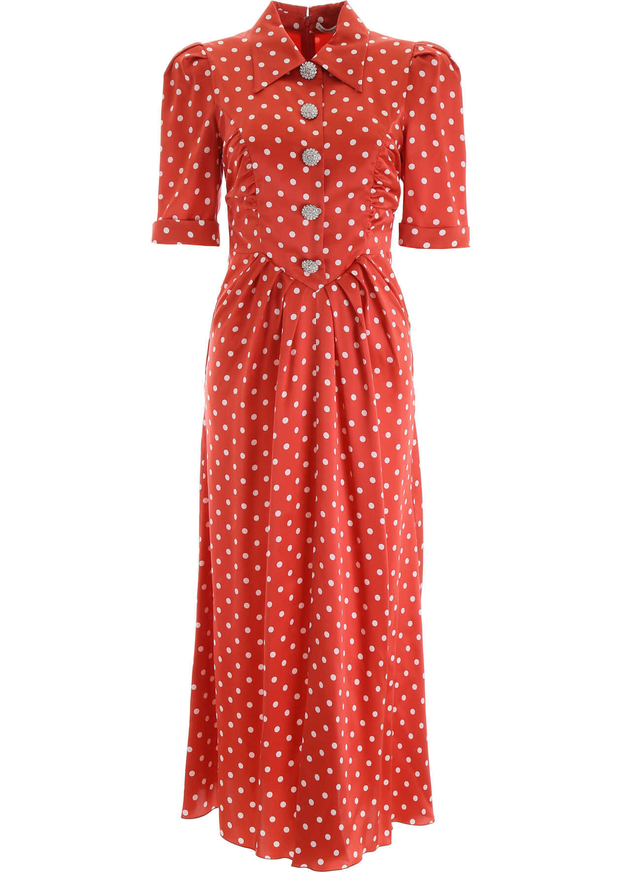 Alessandra Rich Crystal Button Dress With Polka Dots RED