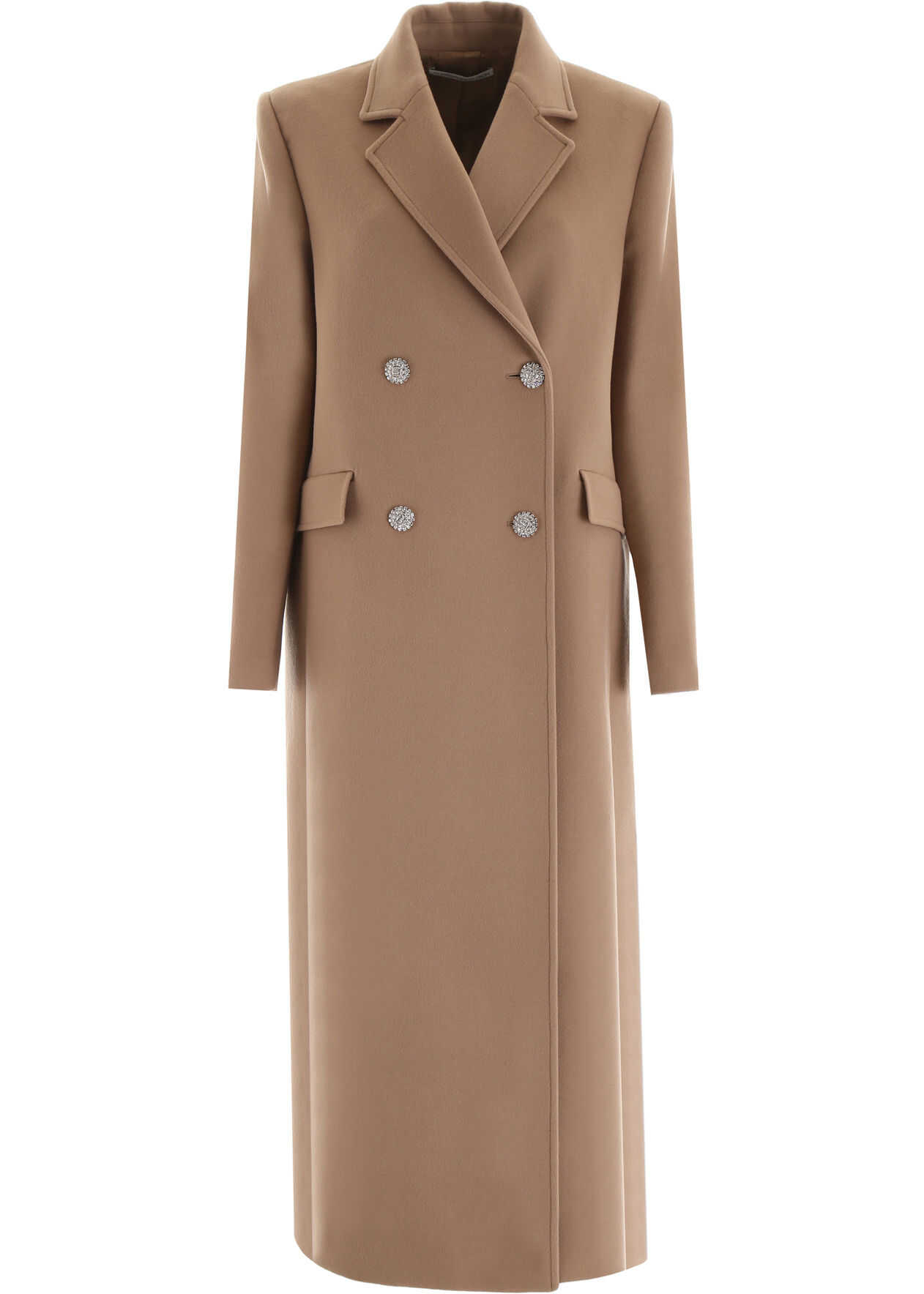 Alessandra Rich Coat With Embellished Buttons CAMEL