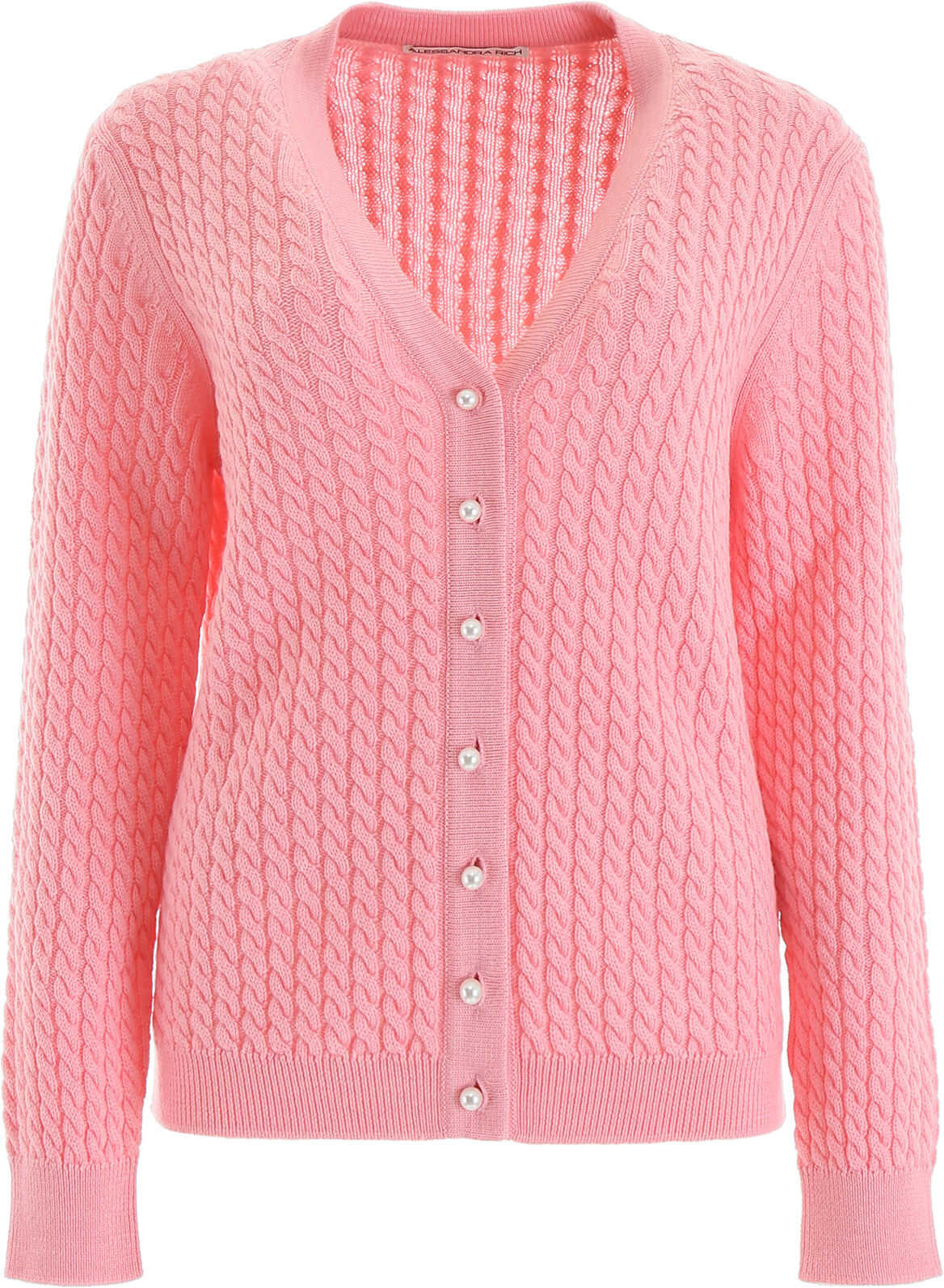 Alessandra Rich Cable-Knit Cardigan PINK