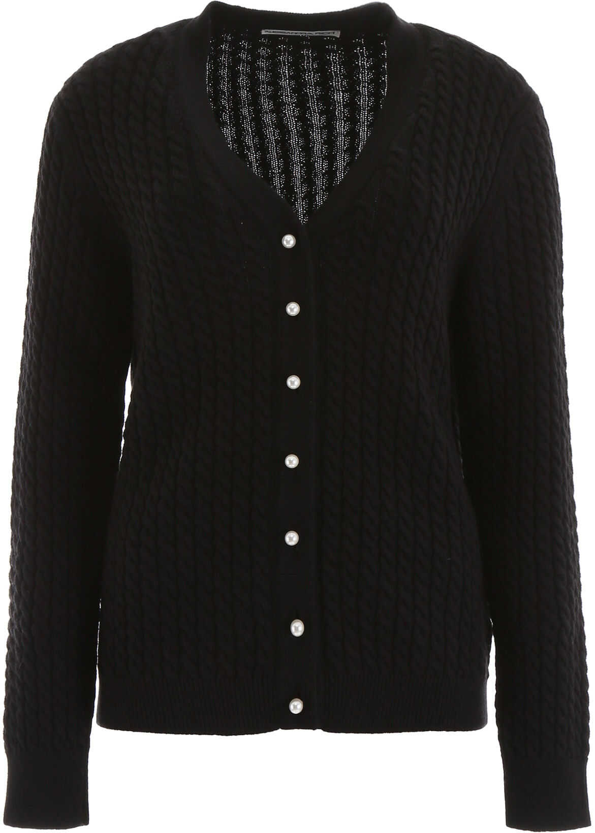 Alessandra Rich Cable-Knit Cardigan BLACK