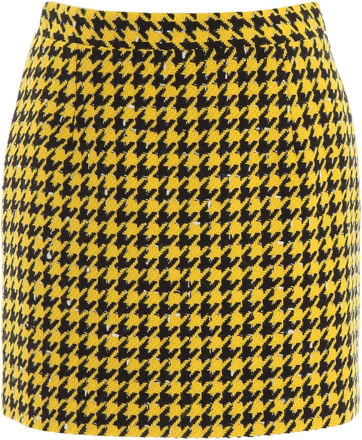 Alessandra Rich Houndstooth Mini Skirt YELLOW BLACK
