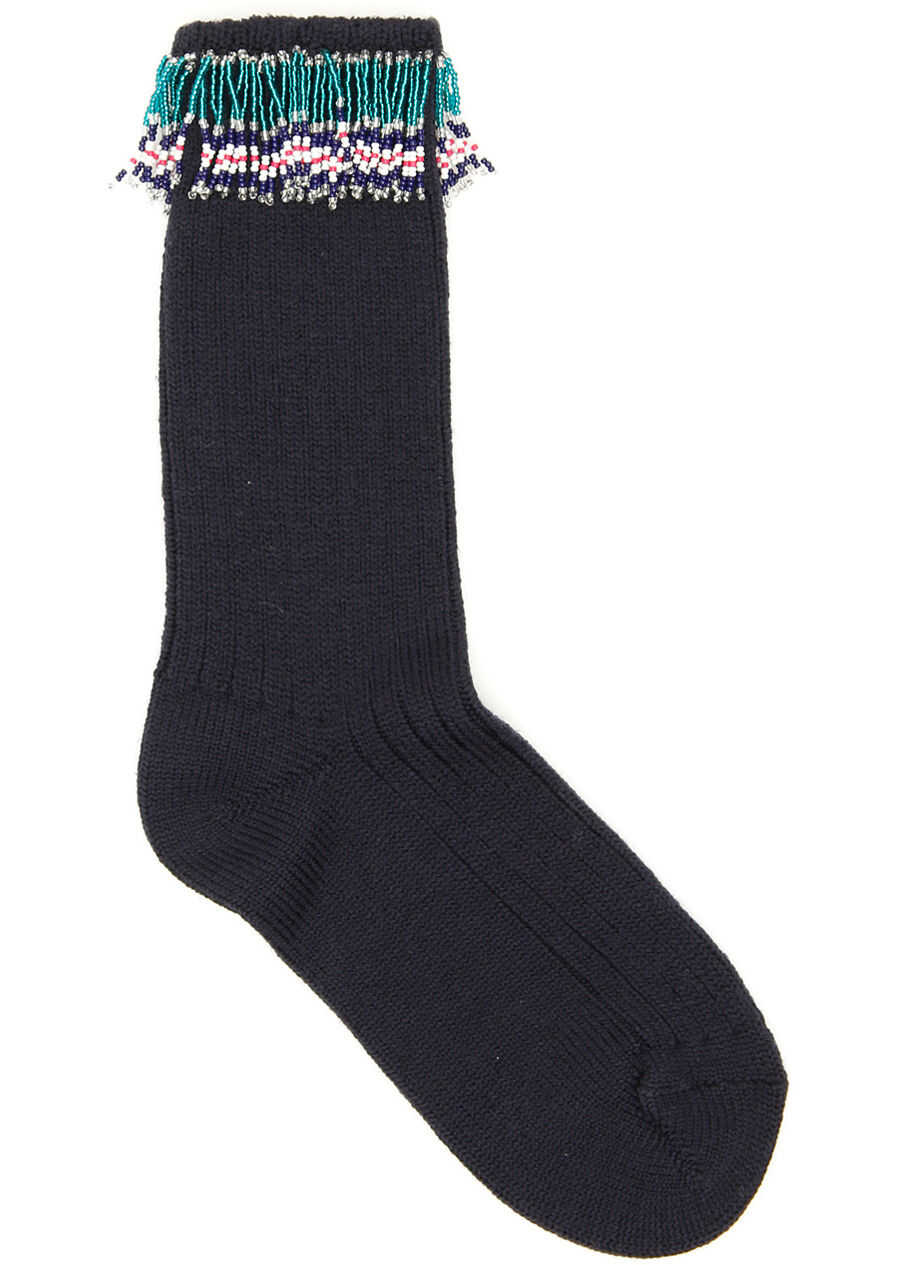 ALANUI Fringed Socks NOCTURNE BLACK