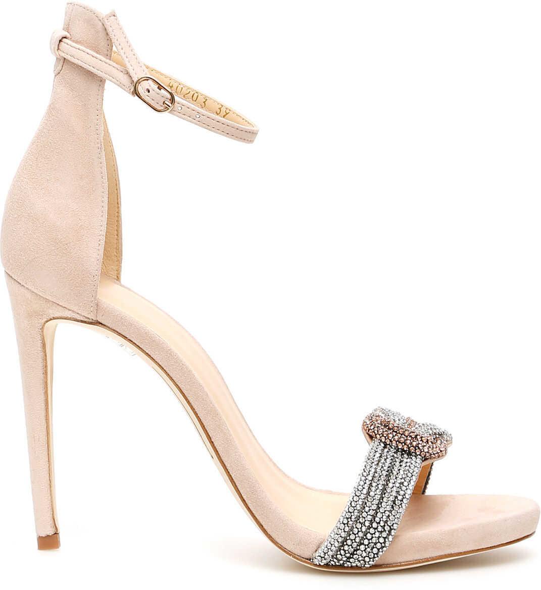 Alexandre Birman Bicolor Crystal Sizzle Sandals SAND