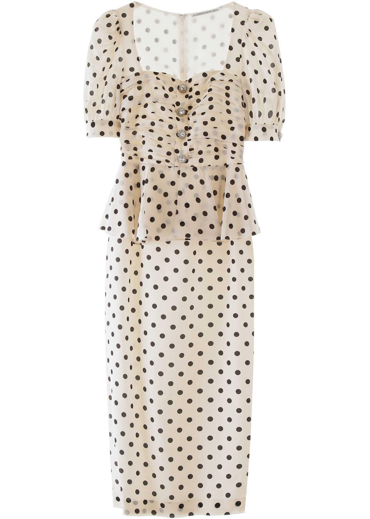Alessandra Rich Polka Dot Midi Dress WHITE