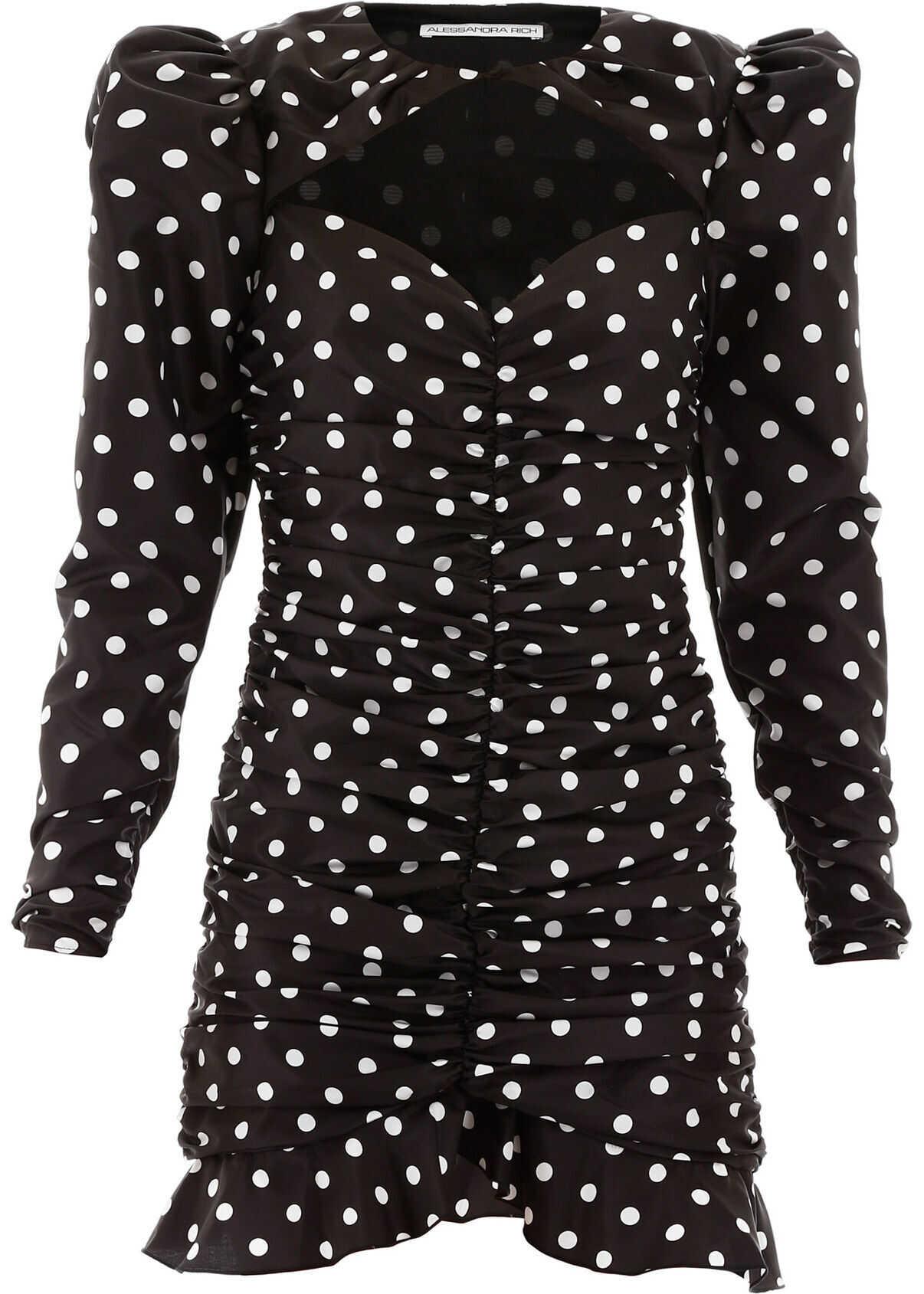 Alessandra Rich Polka Dot Mini Dress BLACK