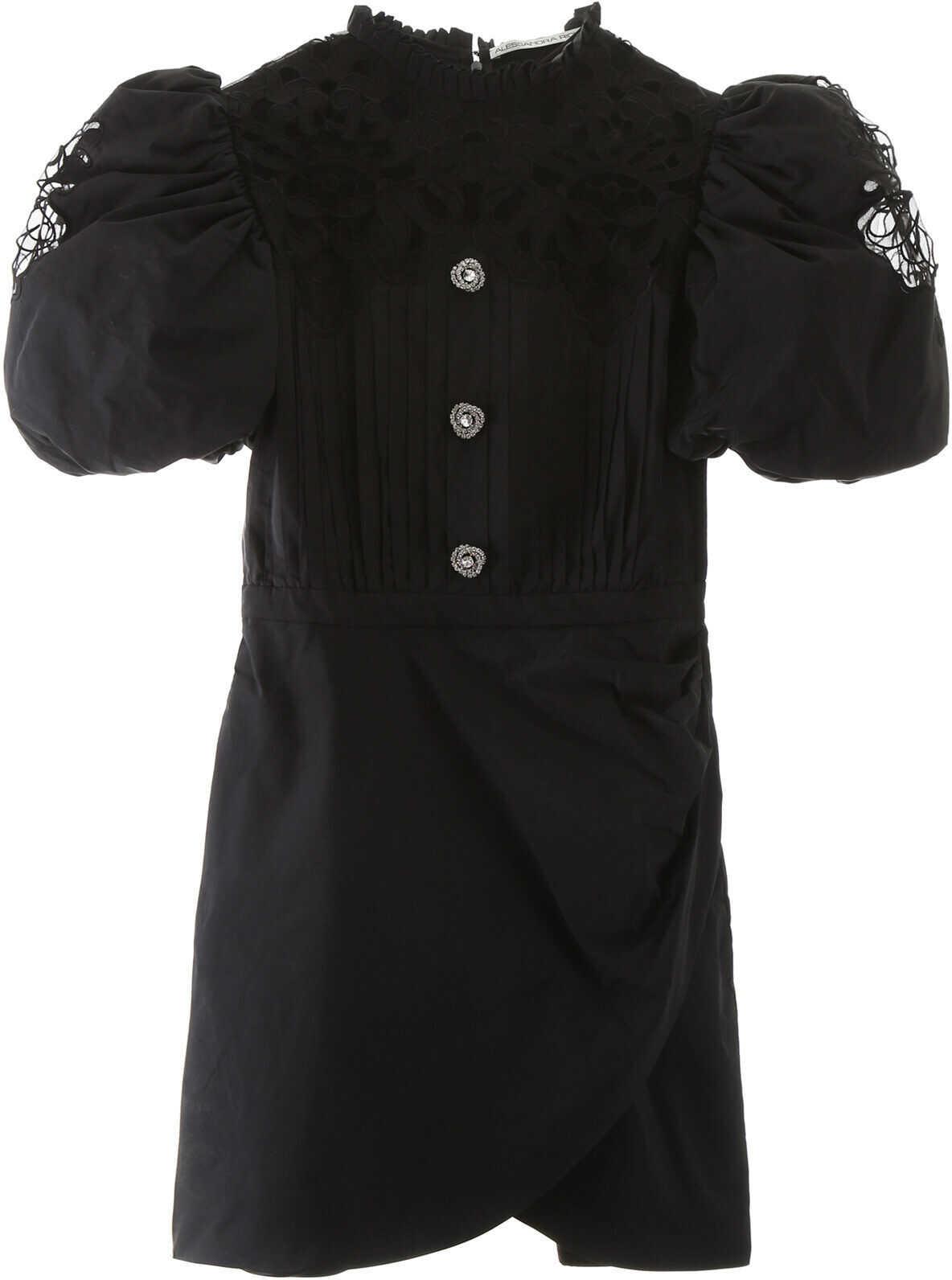 Alessandra Rich Taffeta Mini Dress With Lace BLACK