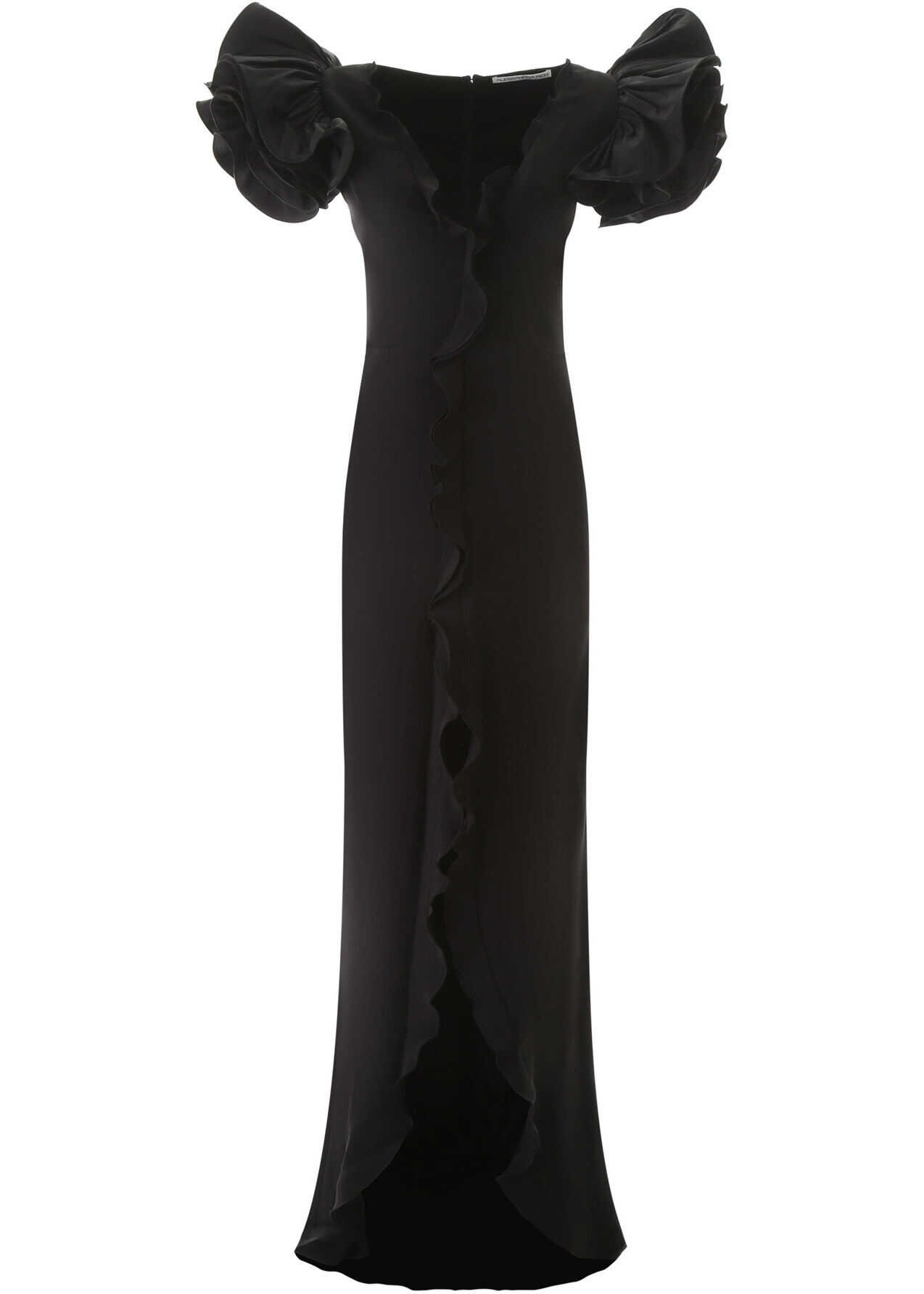 Alessandra Rich Ruffled Long Dress BLACK