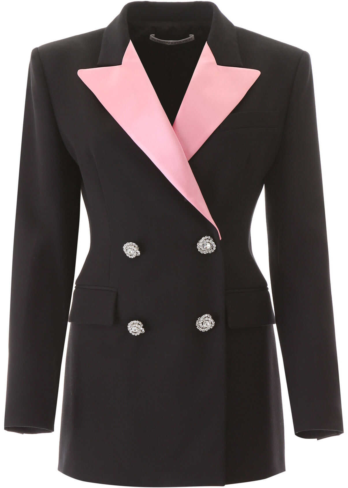 Alessandra Rich Jacket With Pink Lapel BLACK PINK