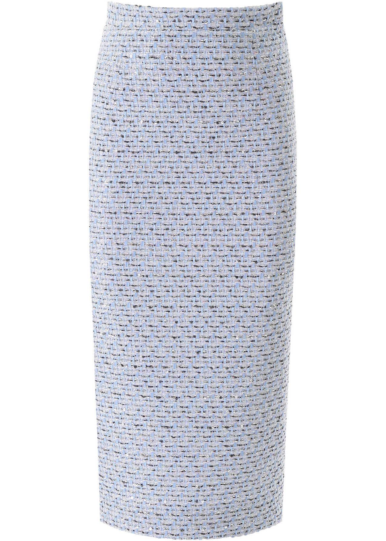 Alessandra Rich Tweed Midi Skirt LIGHT BLUE