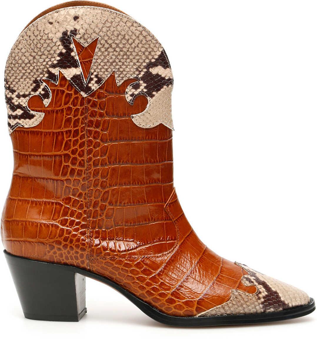 Paris Texas Crocodile And Python Print Cowboy Boots COGNAC NATURALE