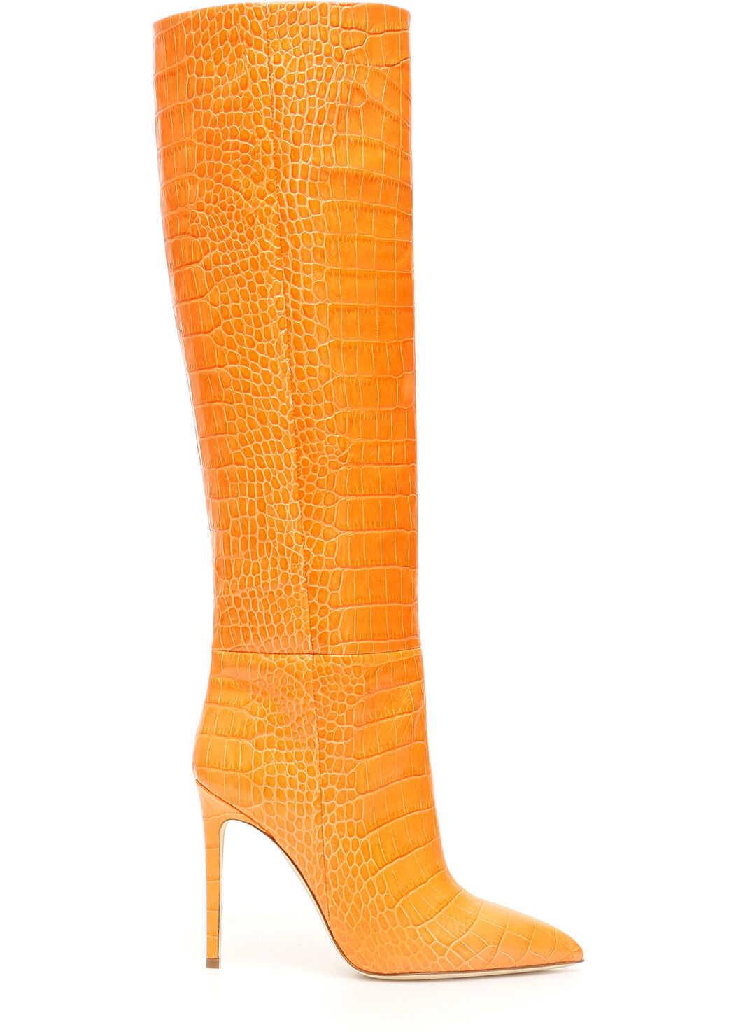 Paris Texas Croc-Print Boots ARANCIO