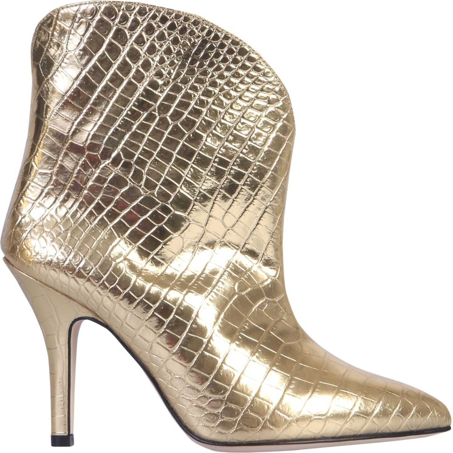 Paris Texas Coco Print Leather Boot GOLD
