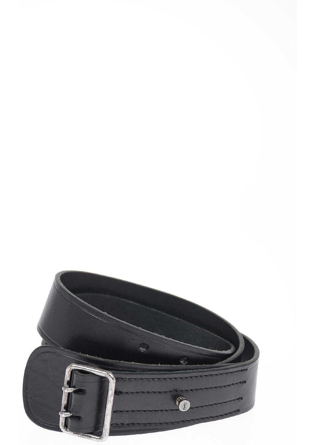 Saint Laurent Leather Belt 35mm BLACK