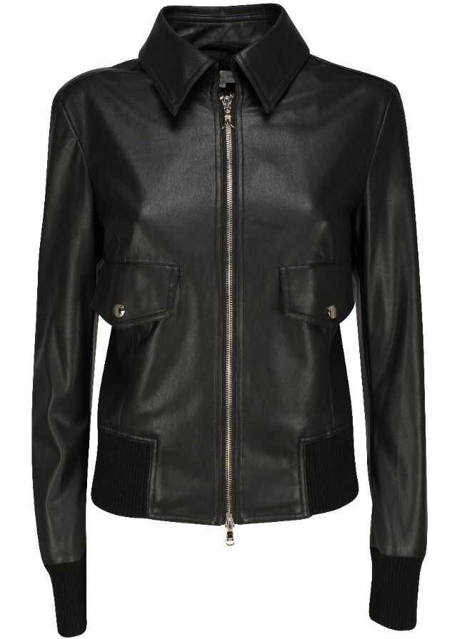 Patrizia Pepe Polyurethane Outerwear Jacket BLACK