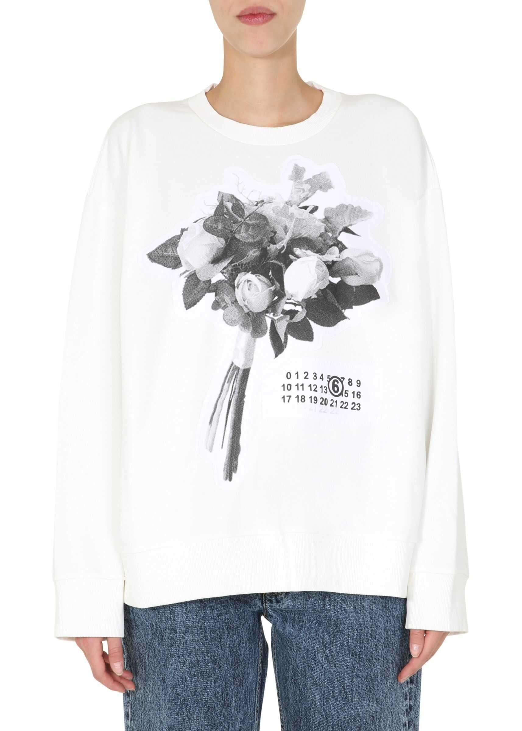 MM6 Maison Margiela Round Neck Sweatshirt WHITE