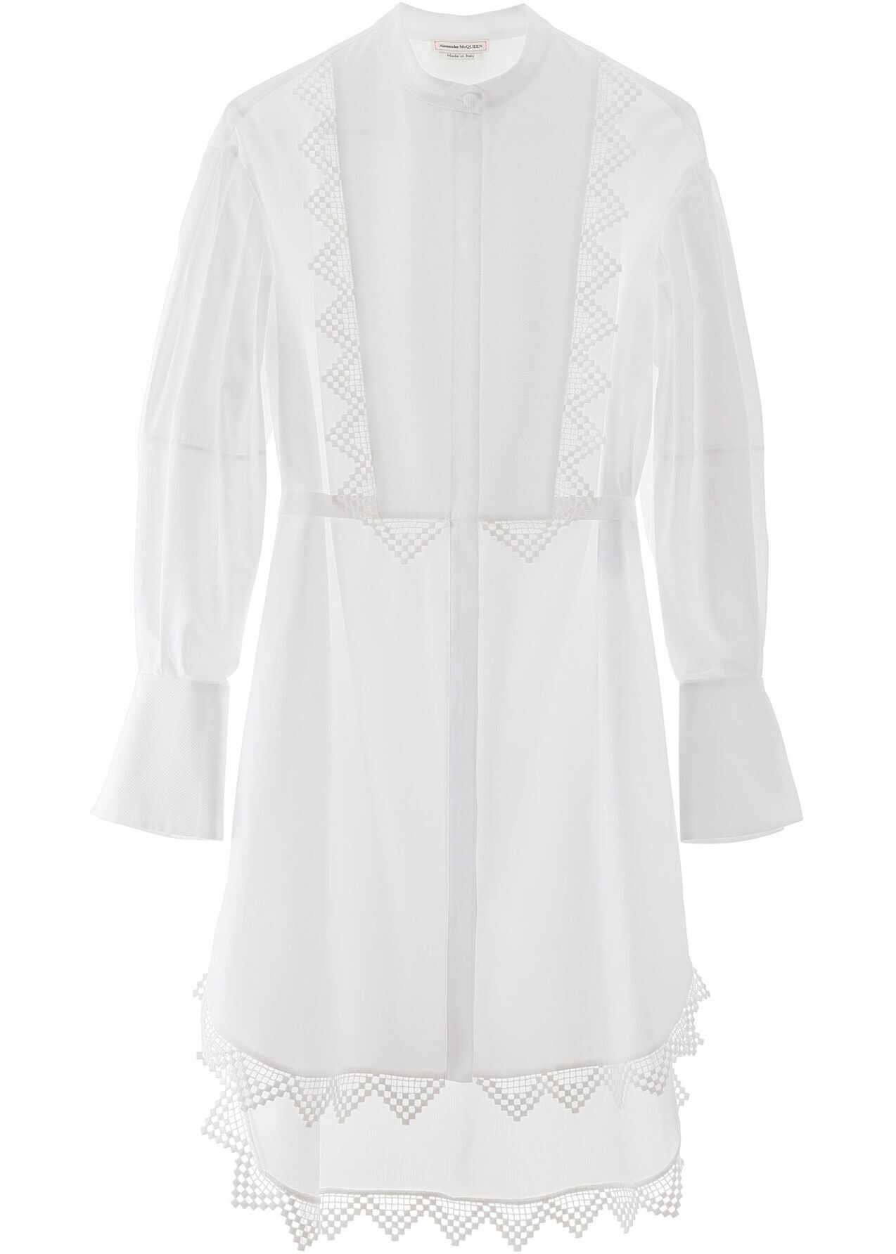 Alexander McQueen Maxi Shirt With Lace Details OPTICALWHITE