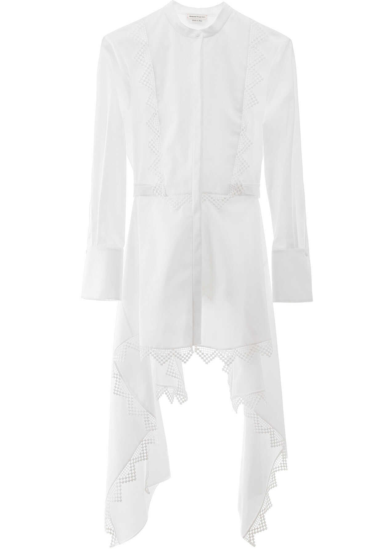 Alexander McQueen Asymmetrical Shirt With Lace Details OPTICALWHITE
