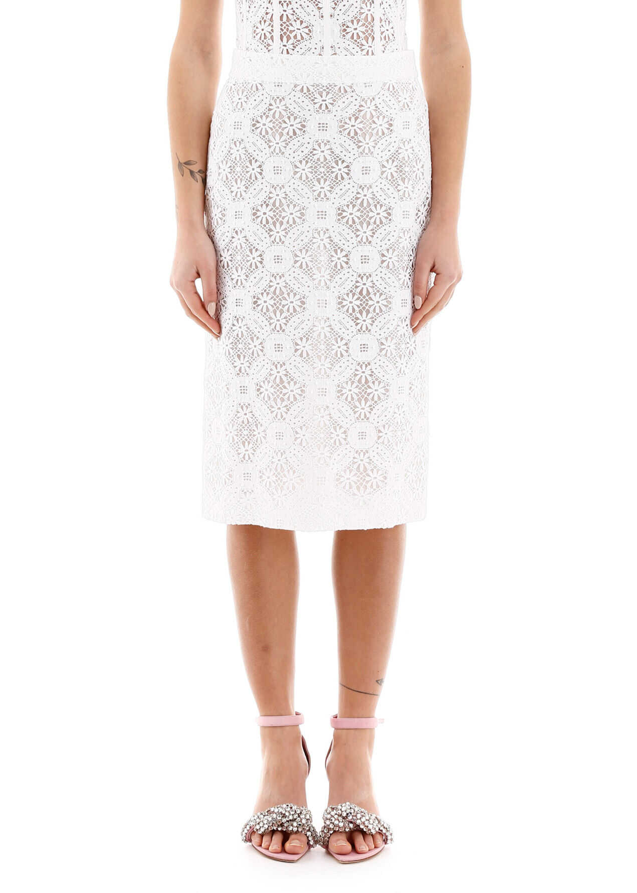 Alexander McQueen Lace Pencil Skirt OPTICALWHITE
