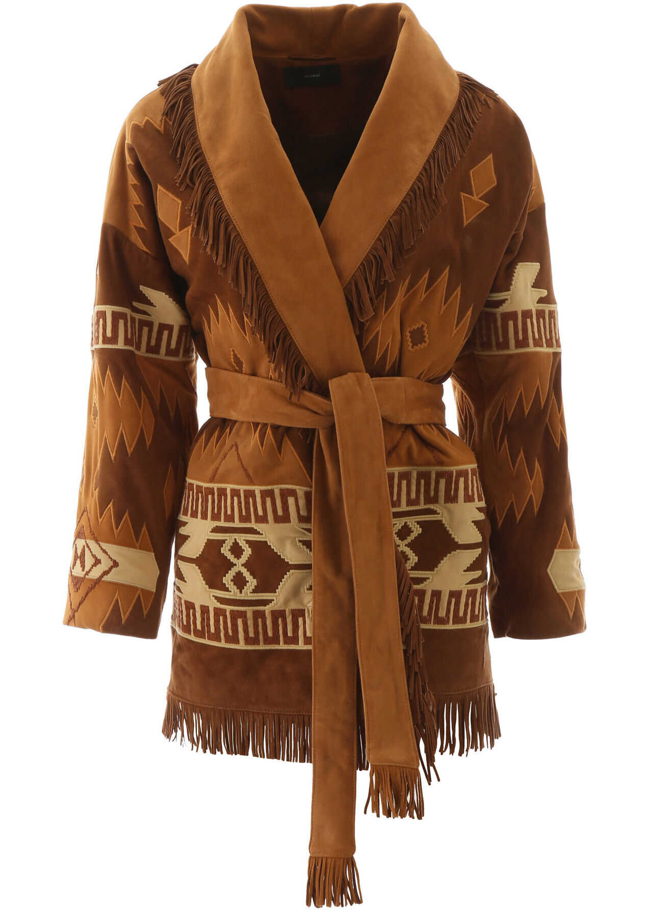 ALANUI Embroidered Suede Jacket BROWN MULTICOLOR