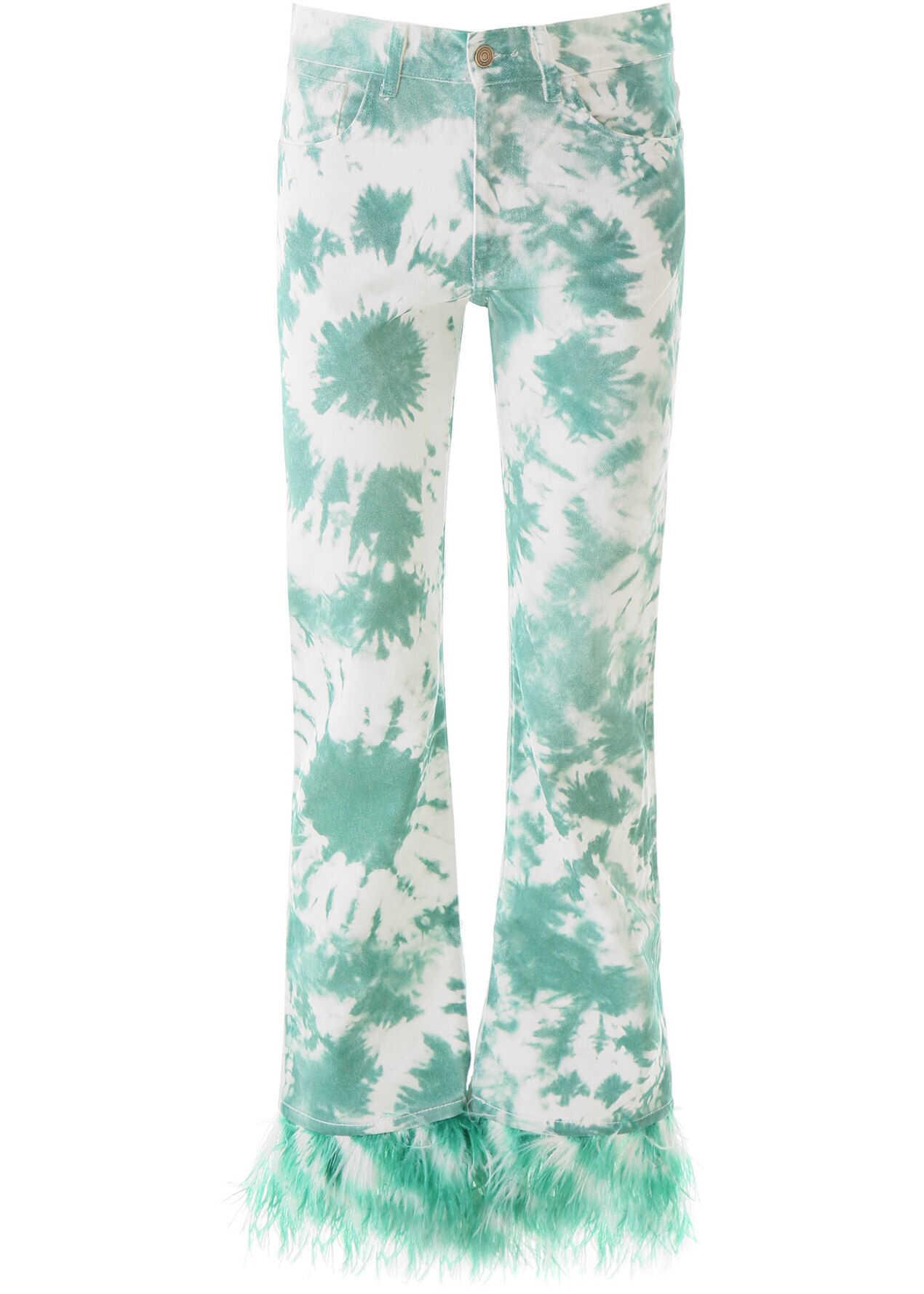 ALANUI Tie-Die Jeans With Feathers SMERALDO