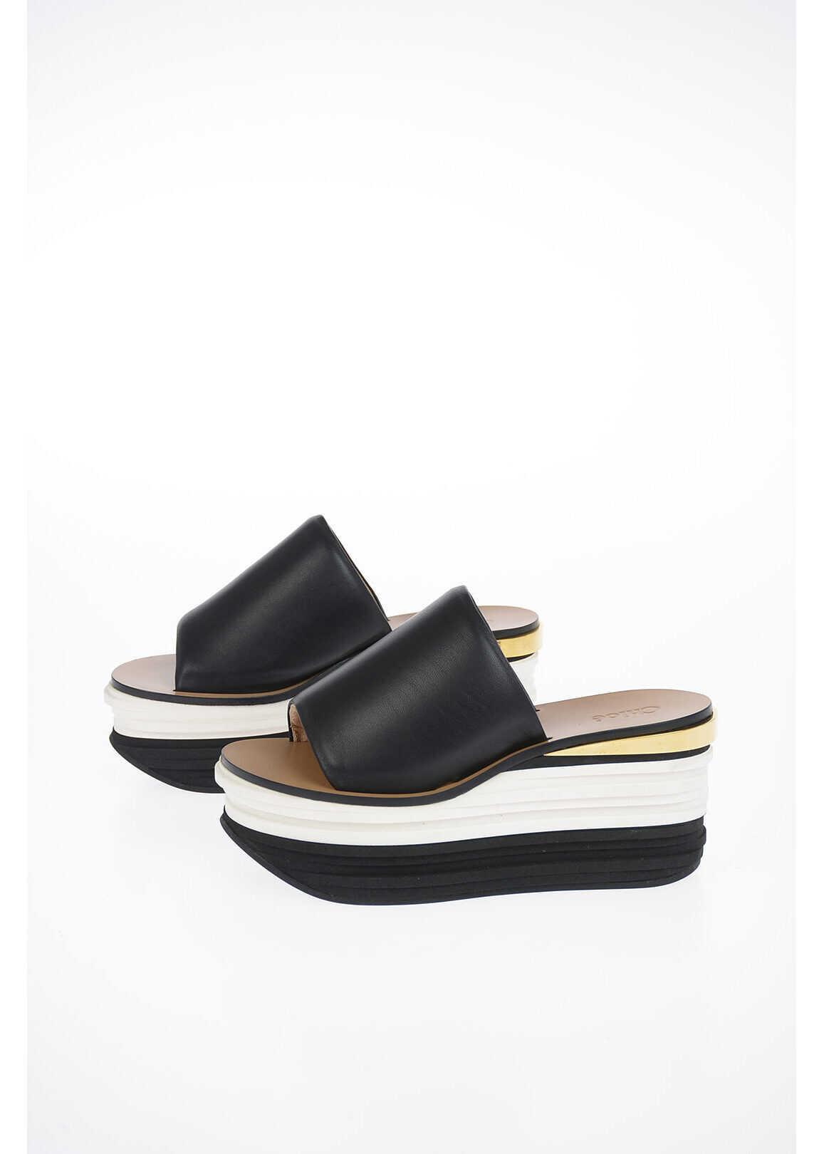 Chloe 7cm Leather Sandal with Wedge BLACK