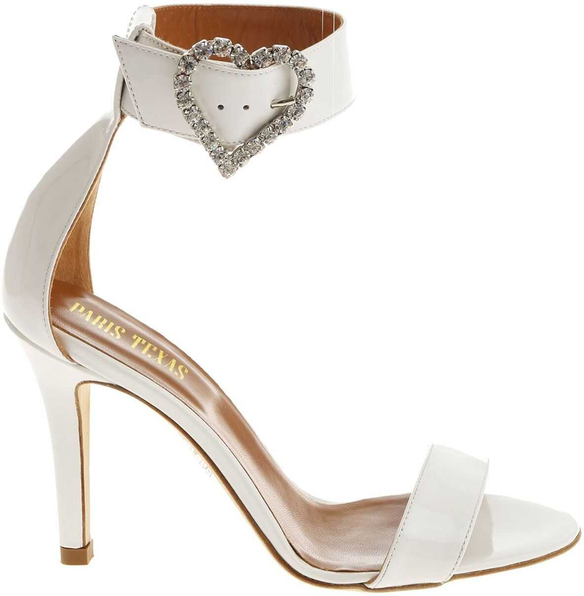 White Patent Leather Sandals With Rhinestones