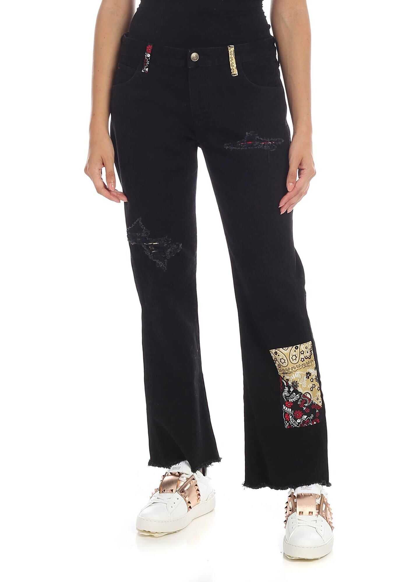 ALANUI Black Denim Trousers With Silk Patches Black