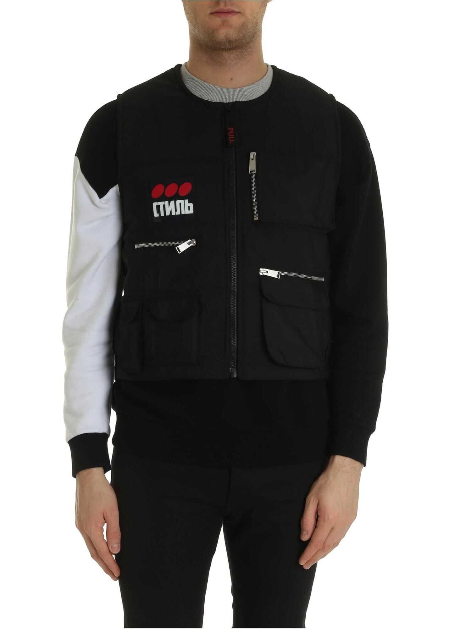 Heron Preston Multipockets Vest Fire Vest In Black Black imagine