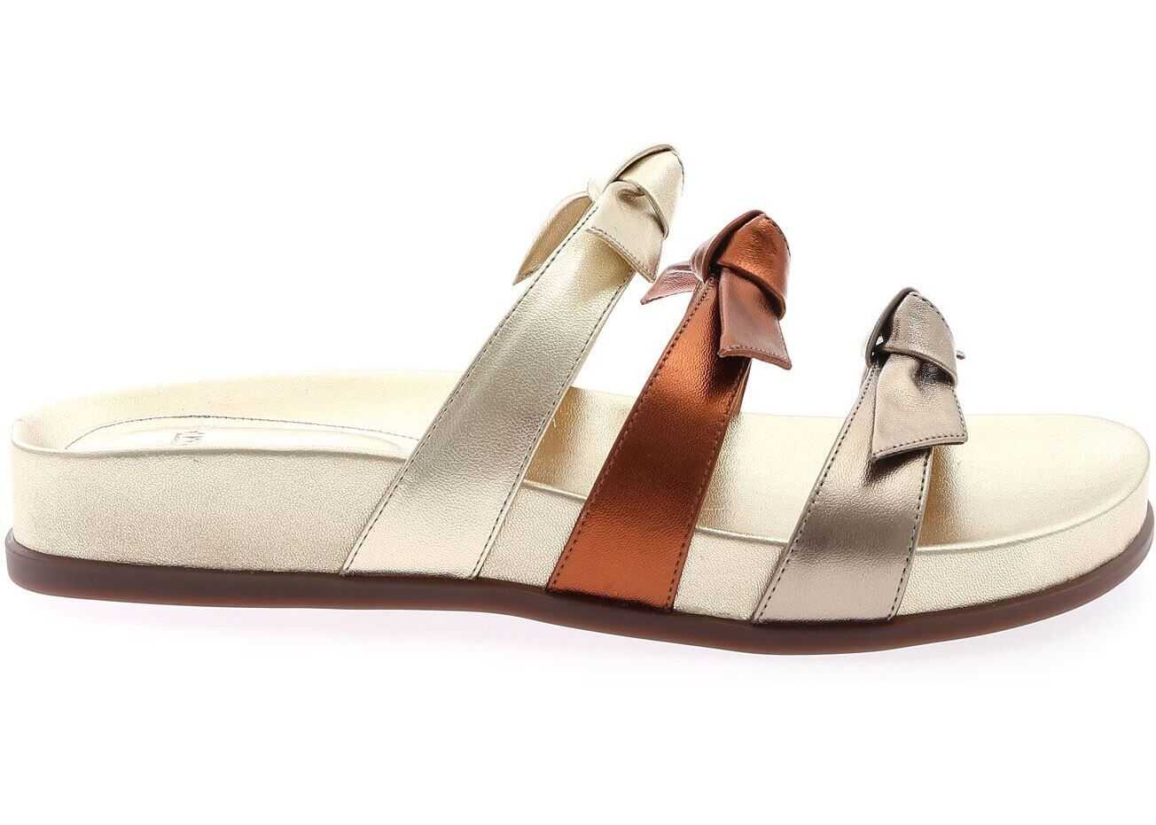 Alexandre Birman Lolita Slippers In Metallic Nappa Leather Gold
