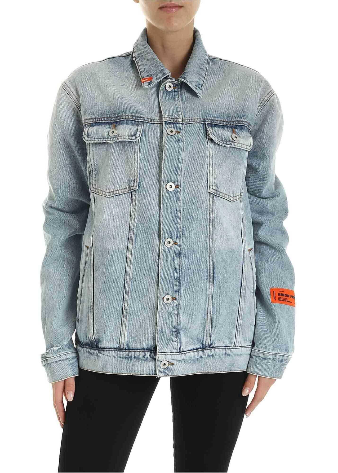 Heron Preston Vintage Wash Denim Jacket In Blue Blue