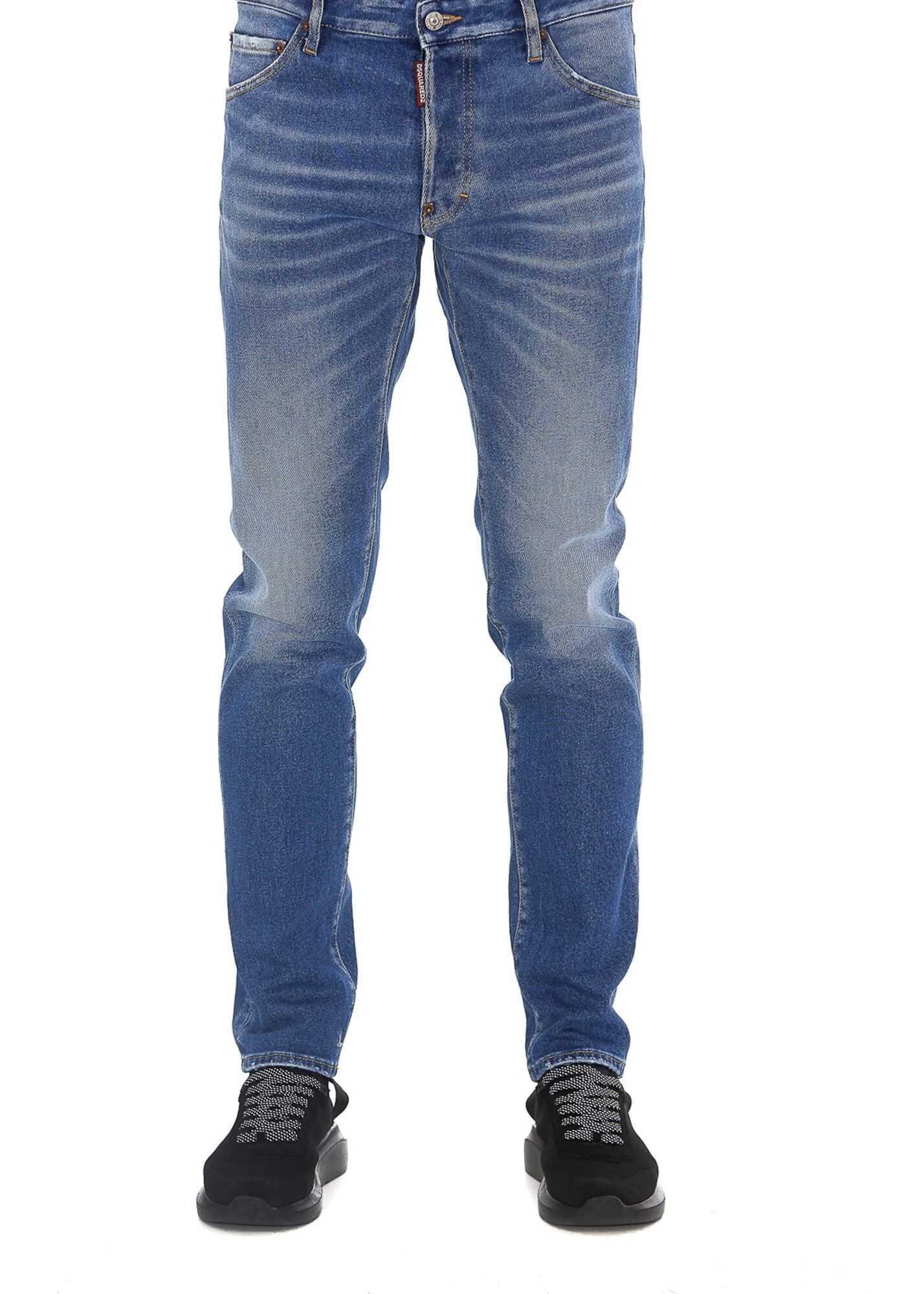 DSQUARED2 Faded Stretch Denim Jeans Blue