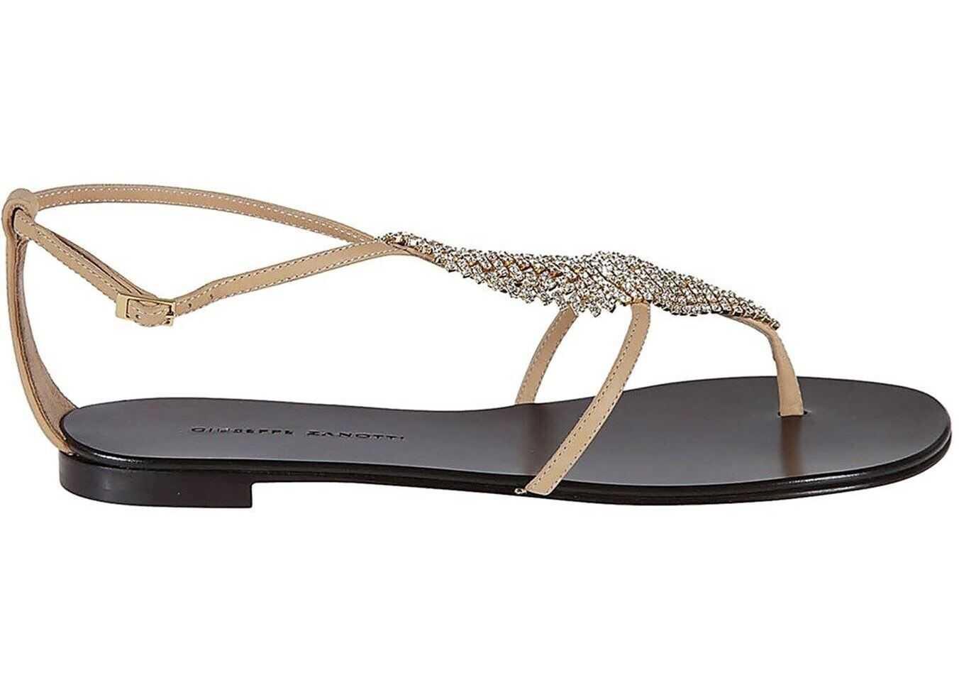 Giuseppe Zanotti Josie Crystals Embellished Sandals Beige