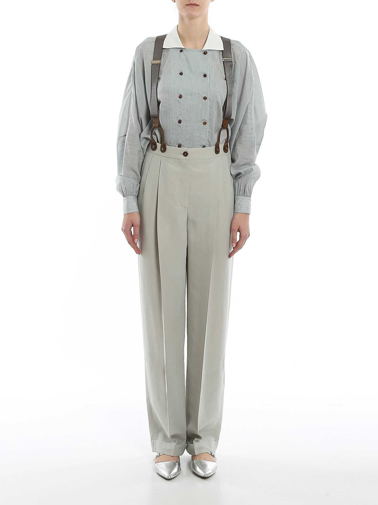 Giorgio Armani Shantung Trousers With Suspenders Green