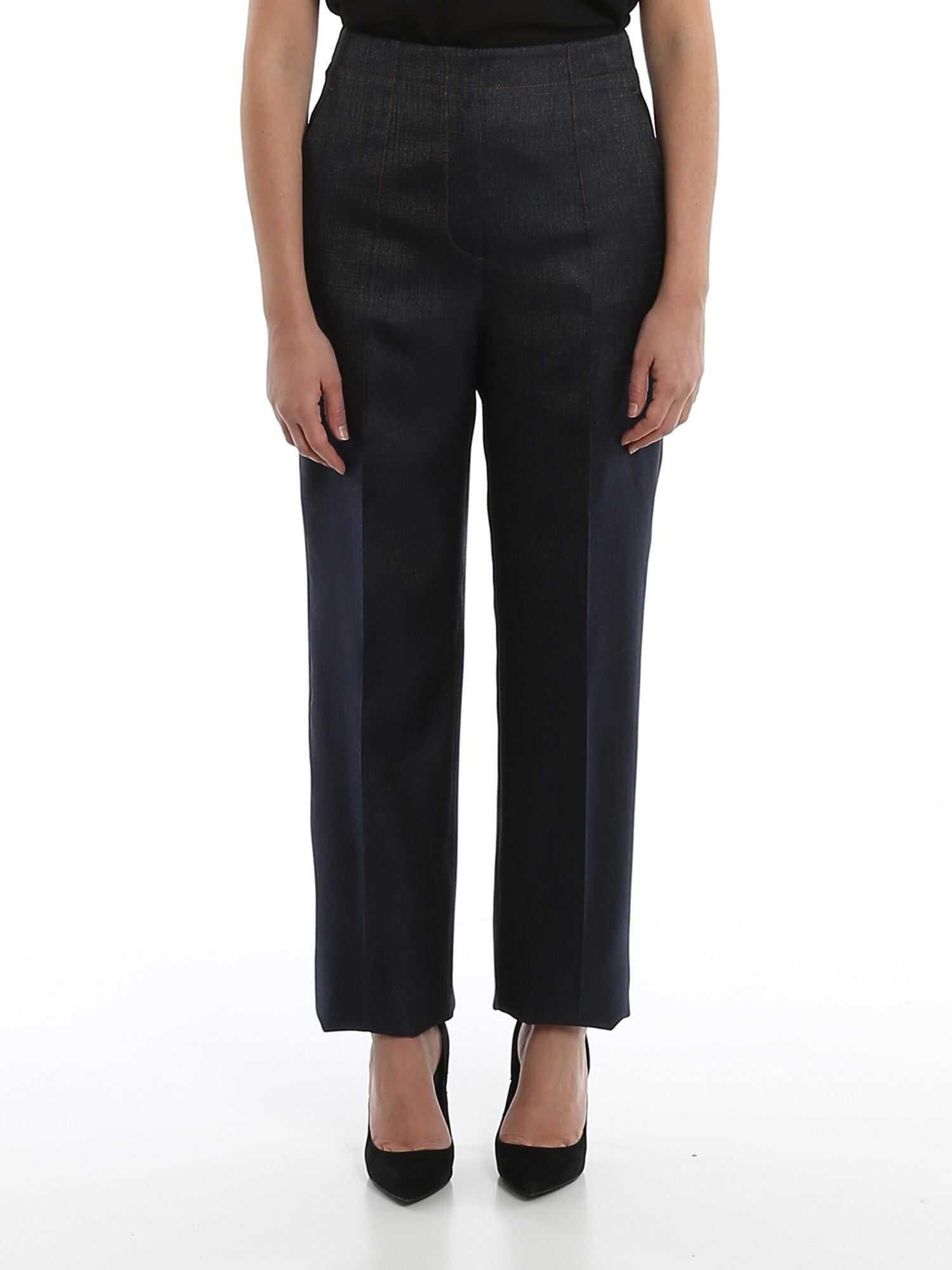 Giorgio Armani Wool And Silk Palazzo Trousers Blue