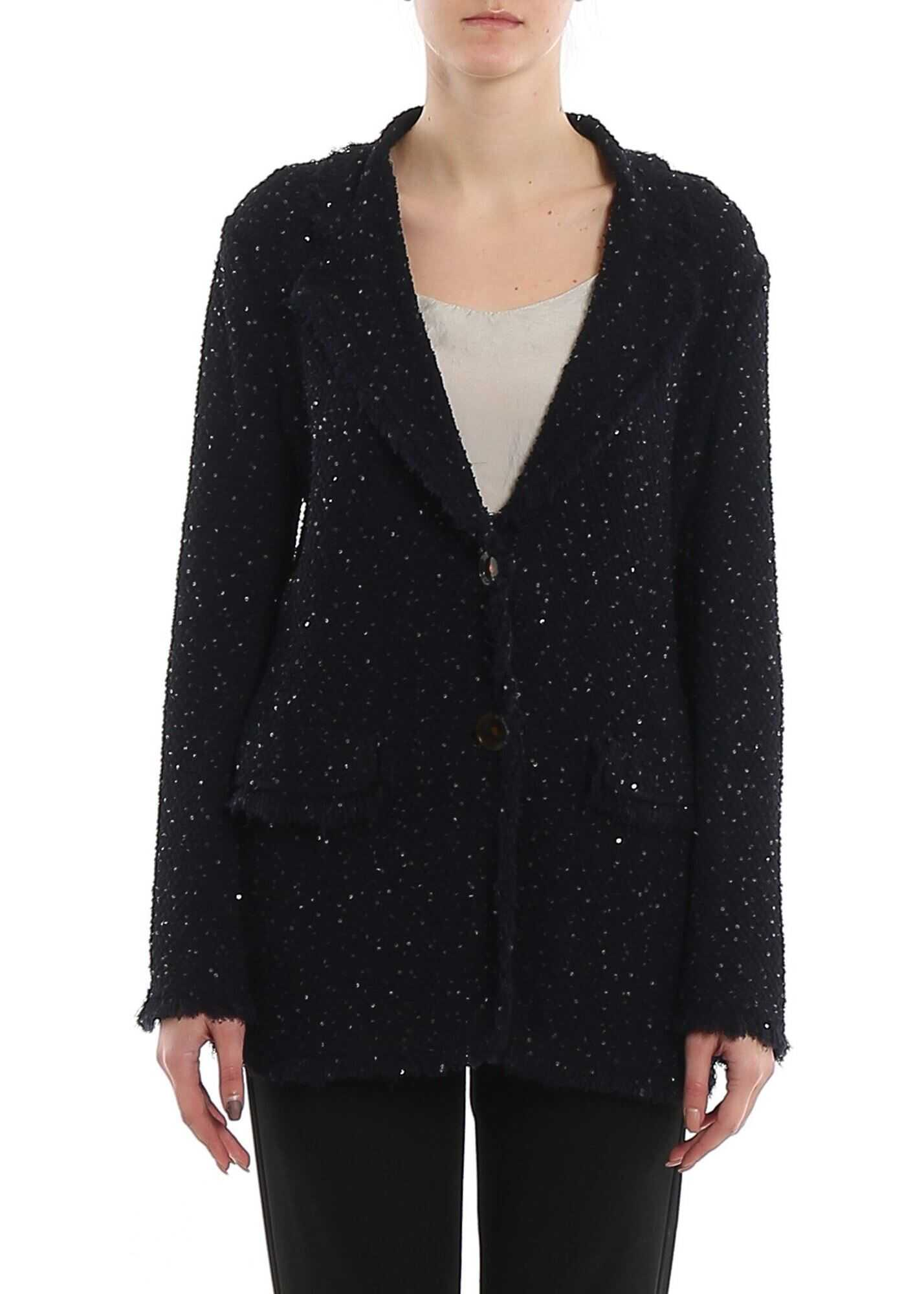 Giorgio Armani Sequined Tweed Fringed Blazer Blue