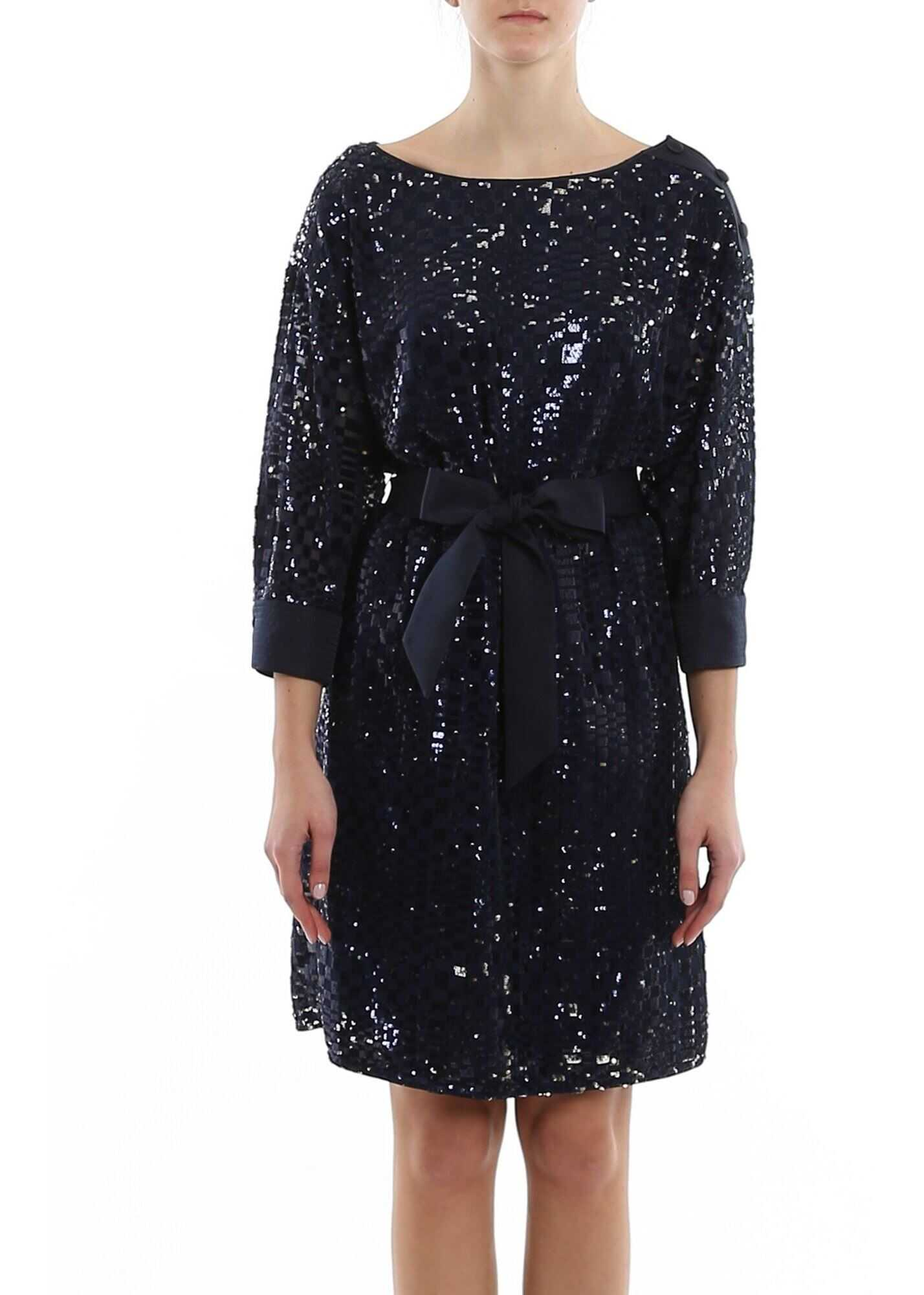 Emporio Armani Belted Sequined Dress In Blue Blue