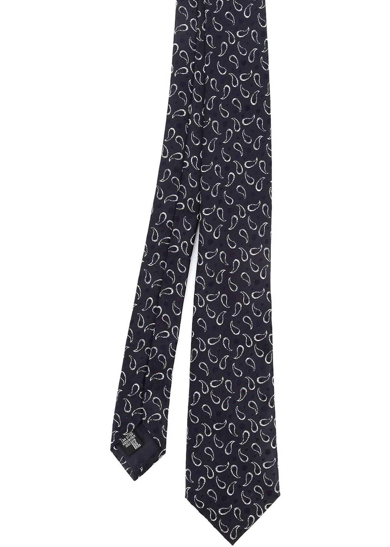 Emporio Armani Paisley Tie In Night Blue Blue