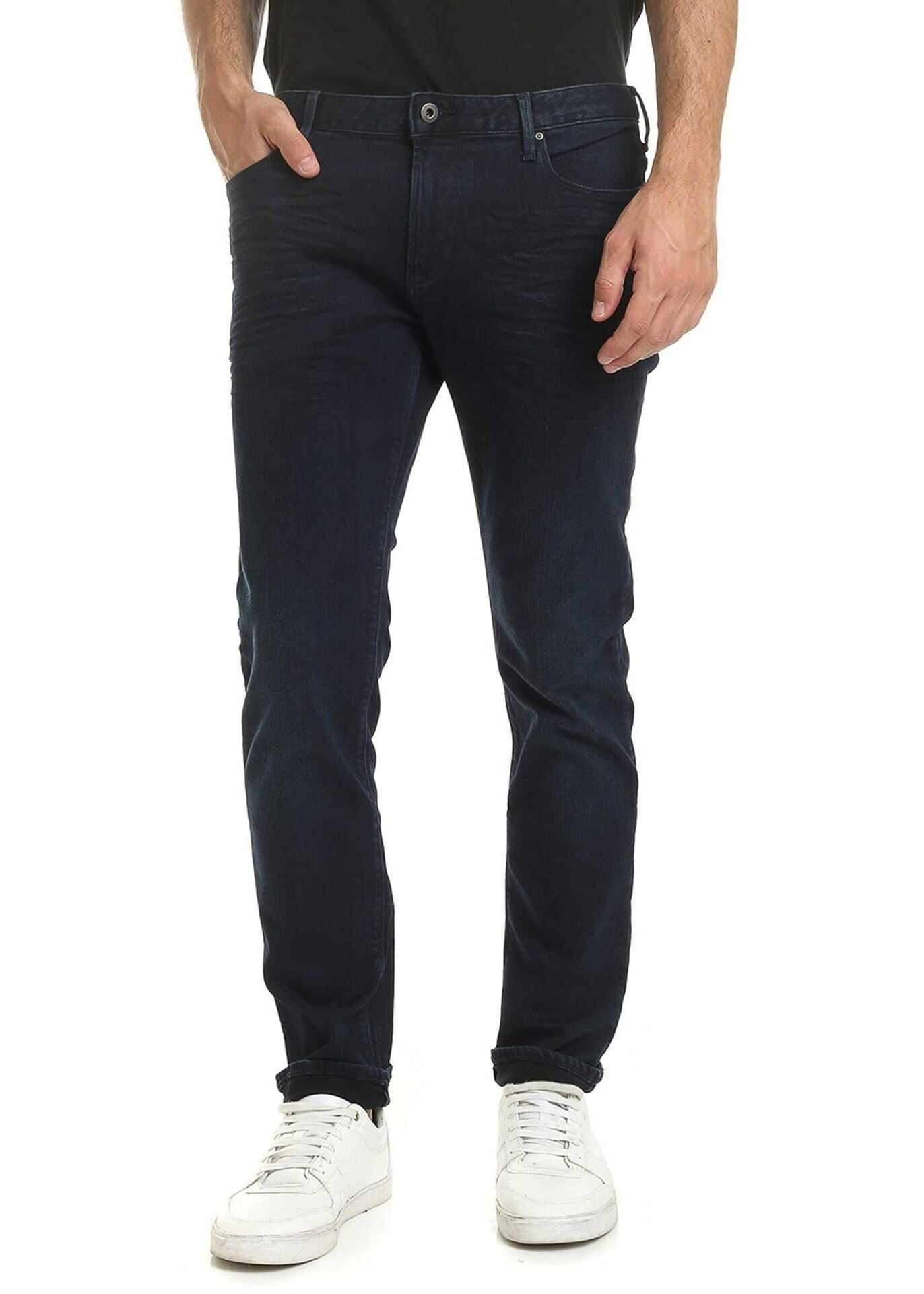 Emporio Armani Logo Jeans In Blue Denim Blue imagine