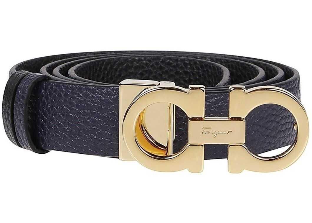 Salvatore Ferragamo Gancini Buckle Leather Belt In Mirto Black Color Blue